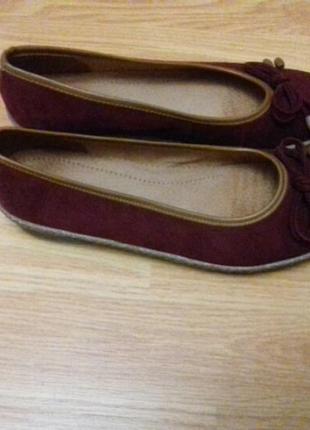 Бордові туфлі балеткі бантік .розмір 38.
