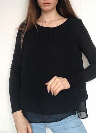 Женская легкая удлинённая блуза чёрного цвета шифоновая