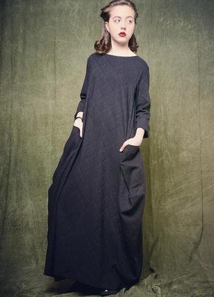 Чёрное жаккардовое платье в пол the poise