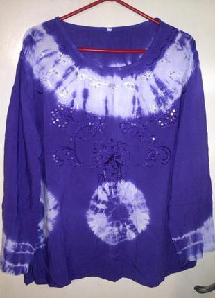 Красивая блуза,с вышивкой и пайетками,градиент,в стиле бохо,большого размера