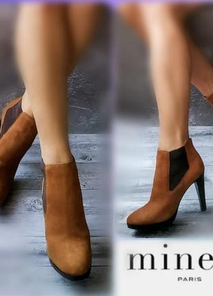 38р нубук кожа новые minelli рыжие замшевые ботинки,ботильоны челси