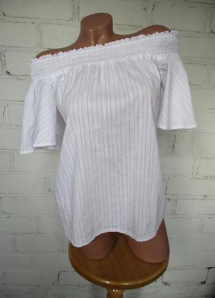 Блуза/рубашка белая хлопковая со спущенными плечами/хлопок
