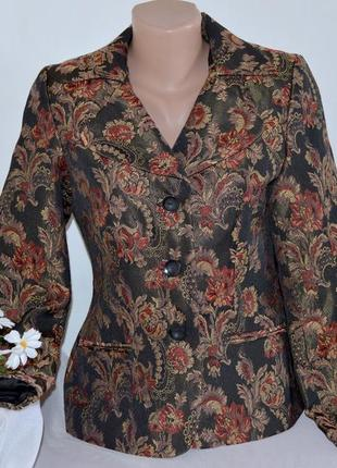 Брендовый пиджак жакет блейзер с карманами nadia nardi вышивка цветы