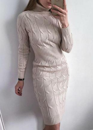 Вязаное платье резинка  по фигуре