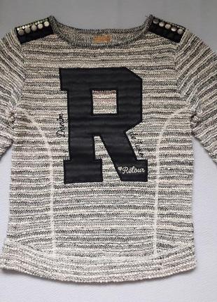 Фирменная модная фактурная кофта с кожаной надписью retour style