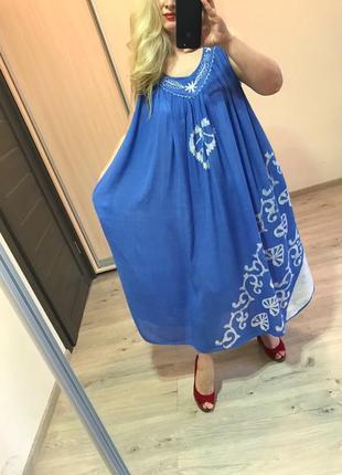 Натуральное платье разлетайка с карманами батал
