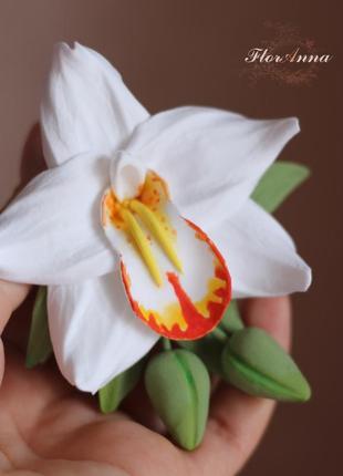 """""""тропическая орхидея с бутонами"""" заколка цветок в волосы из полимерной глины."""