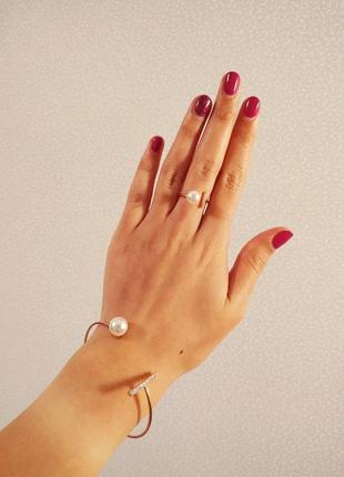Набор браслет и кольцо с покрытием с жемчугом высокое качество / горячая цена!
