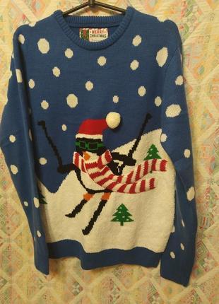 Свитер новогодний с птнгвином кофта
