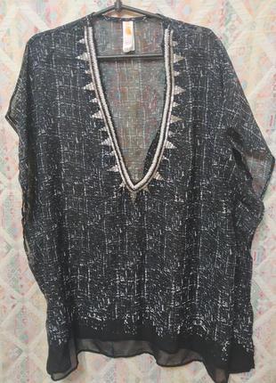 Пляжная туника блуза расшитая бисером