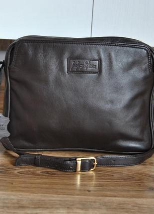 Кожаная сумка кроссбоди jean jacques benson / шкіряна сумка