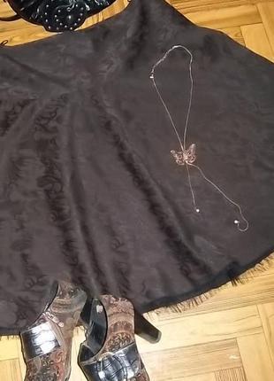Нарядная шоколадная жакардовая юбка l-xl