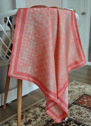 Коралловый шелковый платок / шовкова хустка шарф