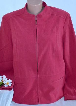 Брендовая розовая куртка жакет на молнии ewm вьетнам имитация замши большой размер