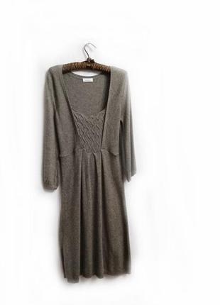 Вязаное серое теплое платье р 40-42 трикотаж