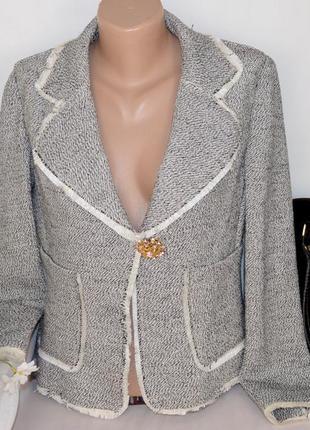 Брендовый пиджак жакет блейзер с карманами marita venezia италия коттон люрекс этикетка