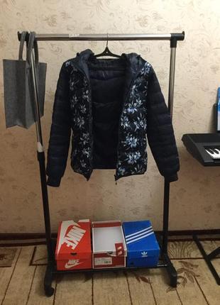 Зимняя двухсторонняя куртка пуховик с цветами