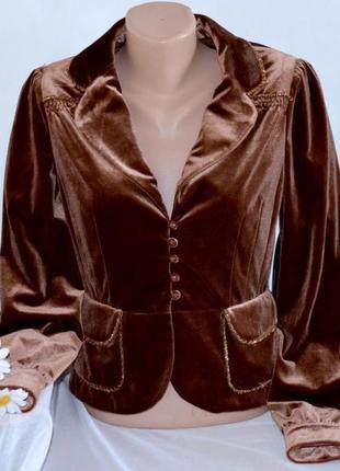 Брендовый велюровый бархатный пиджак жакет блейзер morgan бисер этикетка