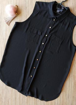 Базовая черная блуза с воротником