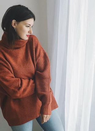 Свитер джемпер с горлом теплый зимний на весну кирпичный терракотовый рыжий акрил