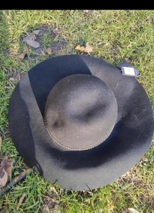 Черная шляпа шляпа с большими полями 100 шерсть