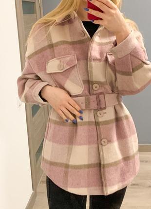 Новое пальто рубашка в клетку с шерстью