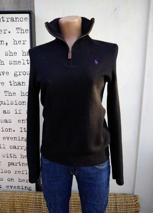 100% шерсть мериноса свитер с воротником молния гольф casual polo ralph lauren