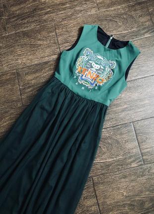 Очень стильное длинное платье с логотипом kenzo