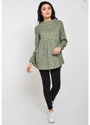 Туника с рюшей под ангору расклешенная свитер