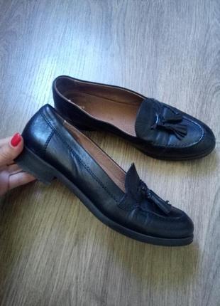 Черные туфли лоферы натуральная кожа размер 39