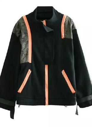Бомбер-ветровка, трикотажный укороченный пиджак-кардиган трехцветный оверсайз