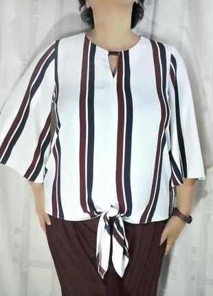 Элегантная блузка в полоску, с бантом
