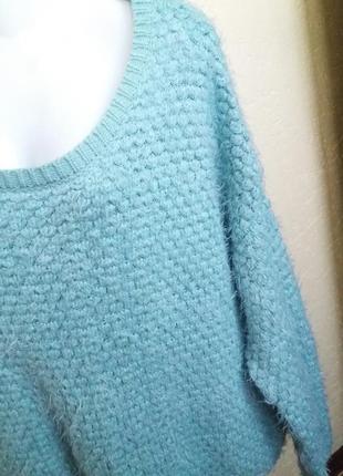 Мятный мягусенький свитерок травка свитер большой размер 58 60 62 кофта кофточка