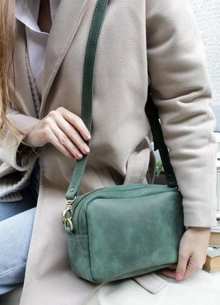 Кожаная женская зеленая сумка, сумочка на пояс, бананка, поясная сумка