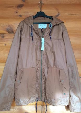 Куртка  ветровка с капюшоном  бомбер цвет кофе с молоком  river island размер- s-м