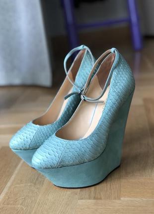 Туфли на платформе бирюза