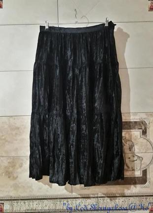 Новая просторная нарядная бархатная длинная юбка в чёрном цвете, размер л-хл