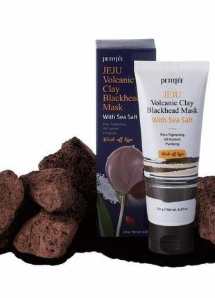 Маска для лица petitfee jeju volcanic clay blackhead mask with sea salt 120g1 фото