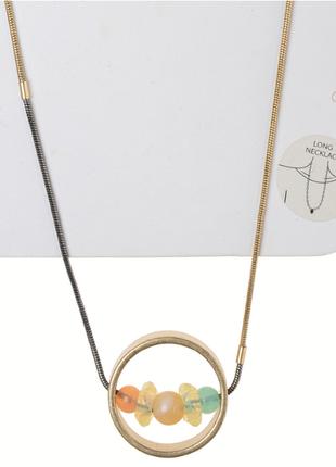 Ожерелье колье цепь кольцо бусины золото винтаж украшение stradivarius