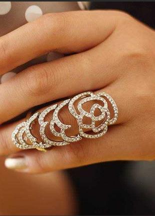 Массивное двойное кольцо золото камни стразы asos бижутерия украшение