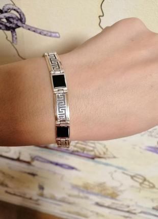 Срібний браслет з пластинами золота, вставки онікс