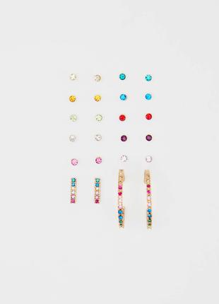 Набор сережек серьги 12 пар гвоздики разноцветные кольца полукольца камни стразы