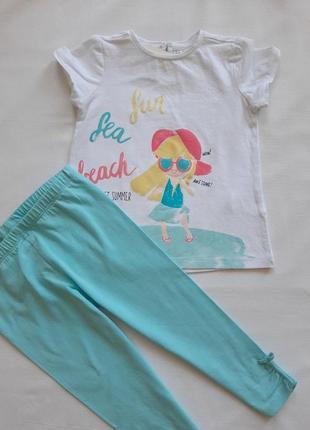 Комплект  футболка и лосины для девочки  р 92\98