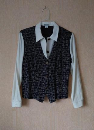 Блузка с имитацией жилетки, винтаж