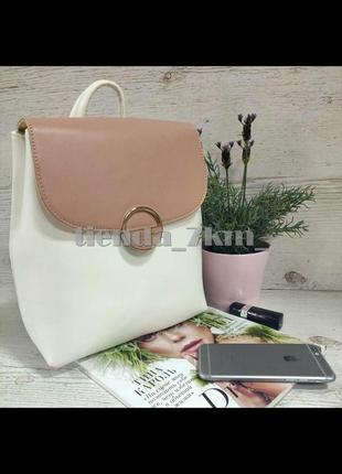 Стильный двухцветный рюкзак david jones 6233-2t с розовым клапаном