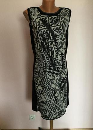 Фирменное комбинированное платье/l/ brend marccain