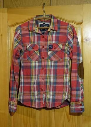 Яркая х/б клетчатая рубашка в стиле кантри superdry англия m.