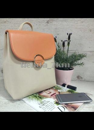 Стильный двухцветный рюкзак david jones 6233-2t с коралловым клапаном