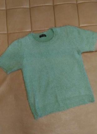 Тёплый, пушистый свитер травка select с коротким рукавом, р.xl
