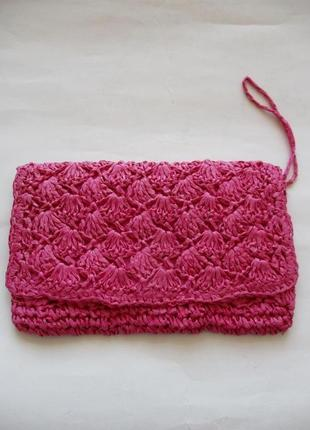 Sale -50%! яркий розовый плетеный клатч takko германия